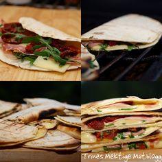 Quesadillas med ruccula, ost, skinke og soltørket tomat | TRINES MATBLOGG