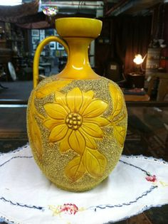 Vintage Yellow Sand and Glazed Pottery Pitcher