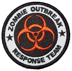 "Amazon.com: [Single Count] Custom and Unique (3"" inch) ""Quarantine"" Round Bio Hazard Zombie Response Team Iron On Embroidered Applique Patch {White, Black and Orange Colors}"