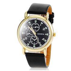 vrouwen ronde gouden wijzerplaat geval pu band quartz horloge (verschillende kleuren) 2015 – €5.87