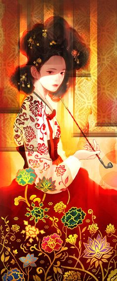 Myeongwol, the name Geum-yong will go by once she is made a gisaeng. Based on Hwang Jin Yi, one of the most famous gisaeng in Korean history given her high intellect.  [Artist:Sang Won Shin]