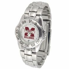 """Mississippi State Bulldogs NCAA """"Sport"""" Ladies Watch (Metal Band) by SunTime. $53.10. Calendar Date Function. Scratch Resistant Face. Rotation Bezel/Timer. This handsome, eye-catching watch comes with a stainless steel link bracelet. A date calendar function plus a rotating bezel/timer circles the scratch resistant crystal. Sport the bold, colorful, high quality logo with pride."""