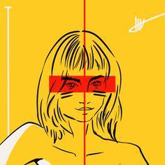 #abstractart #digitalart #illustration #comicart #stripes #woman #color #comic #70ies #body #stroke #portrait #yellow #red #nancy
