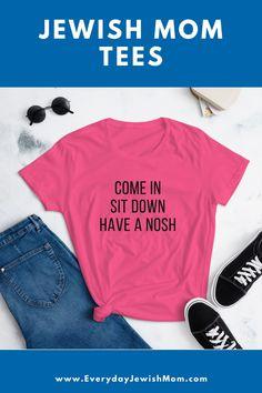 I love being a Jewish Mom. It's time for my wardrobe to match. #jewishmom #jewishtshirt #jewishtees #momstyle #momtee Hanukkah Crafts, Hanukkah Decorations, L Shana Tova, High Holidays, Rosh Hashanah, Time To Celebrate, Mom Style, Tees, Shopping