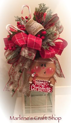 Gingerbread Lantern swag Gingerbread Tree topper bow