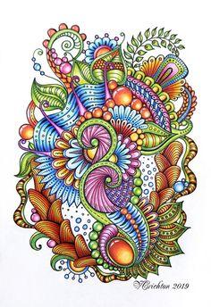 Zentangle art, zentangle gems and droplets, doodle flowers, colour pencils. Doodle Patterns, Zentangle Patterns, Drowning Art, Flower Doodles, Doodle Flowers, Tangled Flower, Ukulele Art, Mehndi Art Designs, Design Art Drawing