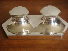 Solid Silver Antique Double Inkwell by Walker & Hall Sheffield 1928
