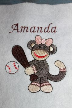 Machine embroidered Sock Monkey