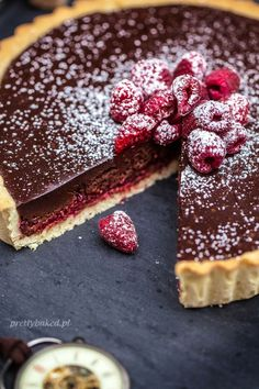Raspberry Chocolate Tart - perfect served with lashings of whipped cream!