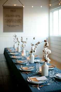 mood | indigo linens and cotton flowers | via: scout
