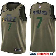 b51449072517 Men s Nike Utah Jazz  7 Pete Maravich Green Salute to Service NBA Swingman  Jersey Basketball