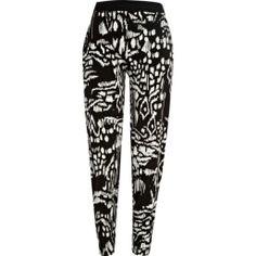 Black and white blurred tribal print joggers