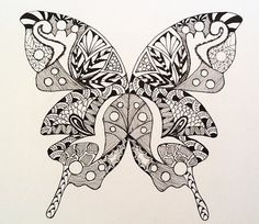 Black and white Zentangle art Butterfly print  on high quality note card stock