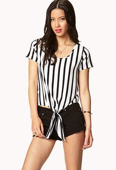 Essential Front-Tie Striped Tee   FOREVER 21 - 2048422992