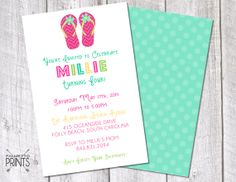 Flip Flop Pool Party Birthday Invitation 8.5x by PalmettoPrints, $14.00