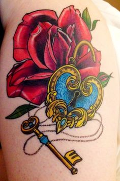 """""""My heart padlock tattoo with an E key to represent my son Elliott having the key to my heart.   Done by the amazing and lovely Kate MacKay-Gill at The Tattoo Workshop, Brighton"""""""