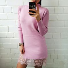 """🌸 Pastel Pink Lace Sweater Dress 🌸 Brand new knit sweater dress featuring lacey at bottom, a split at left thigh. 3/4 sleeve length. 35"""" overall length. Beautiful pink color. Premium cotton & cashmere blend material. Very soft. Boutique Dresses Midi"""