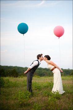 Globos de colores para las fotos de vuestra boda