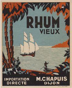 Rare Superbe Etiquette Publicitaire Rhum Vieux Import Direct Chapuis Dijon | eBay