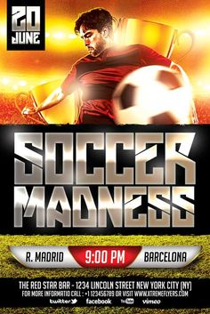 FREE Soccer Flyer Template - http://xtremeflyers.com/free-soccer-flyer-template/ FREE Soccer Flyer Template FREE Soccer Flyer Template PSD was designed to advertise your barber shop for a grand opening or for a promotion .  The design is well sorted in folders , color coordinated and all the elements can be removed or rearranged as you please . The textures and the #Bar, #Club, #Flyer, #Free, #Psd, #Pub, #Soccer, #Sport, #Template