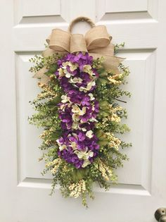 Hydrangea Wreath Swag, Purple Sunset, Floral Swag~Winter, Spring, Summer, Fall~ Burgundy Front Door Decoration~Timeless Floral Hydrangea Wreath, Hydrangea Flower, Floral Wreath, Purple Sunset, Purple Rain, Front Door Decor, Wreaths For Front Door, Swag Ideas, Fall Swags