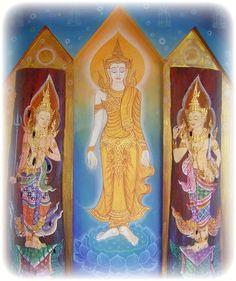 Classic Thai Buddhist Art Three Piece Painting on wood