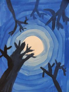 Splats, Scraps and Glue Blobs: Moon & Trees with Tints and Shades Autumn Art, Winter Art, 2nd Grade Art, Third Grade, Value In Art, Art Lessons Elementary, Elementary Education, Sky Art, Middle School Art