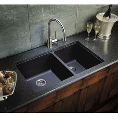 Black Granite Composite Sink With Kohler Oil Rubbed Bronze Faucet And  Drain...so Dreamy | Kitchen Remodels | Pinterest | Granite Composite Sinks,  Oil Rubbed ...