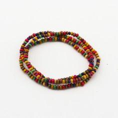 Handmade colorful folk style wooden beads multiple bracelet