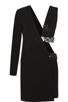 Versus | One-shoulder leather and jersey-trimmed crepe mini dress | NET-A-PORTER.COM