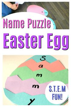 This is such a fun Easter Craft for preschoolers and it has a STEM twist! This name puzzle is full of learning and a great spring activity for little kids! crafts for preschoolers Easter Egg Name Puzzles - How Wee Learn Easter Activities For Preschool, Preschool Arts And Crafts, Kids Learning Activities, Spring Activities, Alphabet Activities, Easter Crafts For Preschoolers, Weekend Activities, Kids Crafts, April Preschool