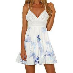 New Womens Dresses Sleeveless V-Neck Solid Elegant Dress Party Holiday Beach Mini Dress