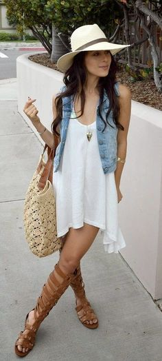 summer outfits Light Hat + Denim Vest + White Dress + Brown Sandals