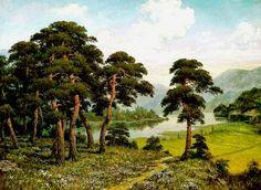 (North Korea) Pine trees Riverside by Kim Sun-gyu (1957-  )