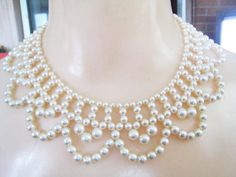 Vintage Faux Pearl Collar Necklace by teddyjewels on Etsy
