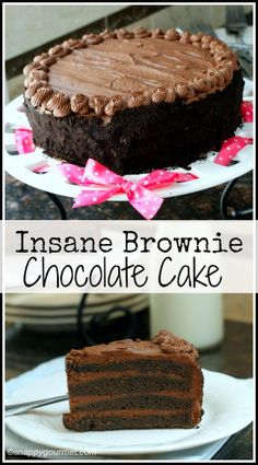 Insane Brownie Chocolate Cake Recipe, a deep rich chocolate cake and the best birthday dessert! SnappyGourmet.com