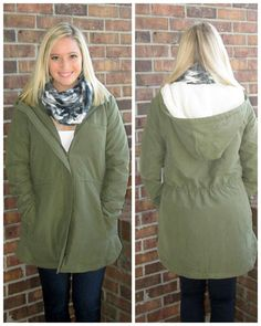 "We are a little obsessed... okay very obsessed with this jacket from BBDAKOTA!   ""Olive Hooded Jacket"" sizes xs-l  Ordering is easy --> 315.565.5586 OR https://secure.jotformpro.com/form/51514909970966 Have questions?? Feel free to ask!!"