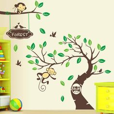 DIY Monkey Forest Removable Vinyl Decal Art Mural Decor Kid Room Wall Stickers