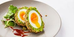 Pea and broad bean scotch eggs Chantelle Nicholson serves up a vibrant pea and broad bean scotch egg recipe for a superb vegetarian take on a classic. Crisp toasted sesame seeds add a savoury richness to the eggs, best served with tangy tamarind chutney. Vegetarian Recipes, Vegetarian Appetizers, Delicious Recipes, Broad Bean Recipes, Tamarind Chutney, Great British Chefs, Egg Recipes, Grilling Recipes, Salads