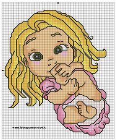 baby rapunzel cross stitch by Disney Cross Stitch Patterns, Cross Stitch For Kids, Cross Stitch Baby, Cross Stitch Kits, Cross Stitch Charts, Rapunzel, Cross Stitching, Cross Stitch Embroidery, Stitch Cartoon