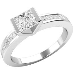 A unique Princess Cut diamond ring with shoulder stones in platinum