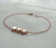 Three Gold Star Bracelet - Rose Gold #cuff #bracelet