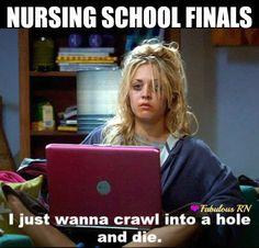 Nursing school finals. Nurse humor. Nurses funny. Nursing school problems. Fabulous RN. Big Bang Theory Penny.