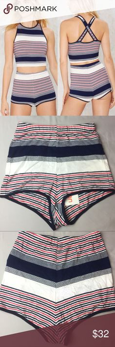 🇺🇸Nasty Gal Love Bites knit shorts🇺🇸 love bites knit shorts, from nasty gal (but not NG branded) LISTING IS FOR SHORTS ONLY!!! I do not have the top (the two pieces match but we're sold separately) but there's a million other cute things tk pair with these adorable red white & blue high waisted knit shorts! New with tags, never worn only tried on once. Really cute and fit me great, just getting rid of things I've had and havnt worn yet. Would be cute for 4th of July, Labor Day, or any…