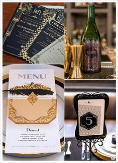 mariage art deco charleston carte etiquette bouteille menu faire part