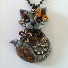 *POLYMER CLAY ~ Steampunk Silver Gray Tabby Cat Necklace Polymer Clay Jewelry