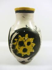 "GORKA LIVIA BLACK & WHITE RETRO VASE WITH SUN MOTIF 6.7"",1950'S ART POTTERY !"