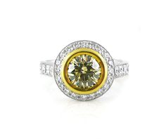 An White and Yellow Gold, Fancy Brown Round Brilliant Cut Diamond Halo Ring Halo Diamond, Diamond Rings, Diamond Engagement Rings, Halo Rings, Vintage Rings, Colored Diamonds, Jewelry Collection, White Gold, Fancy