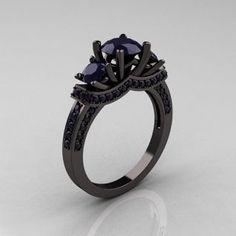 French 14K Black Gold Wedding Ring on Chiq, love the idea of a black gold wedding ring with a purple stone..... perfect