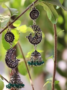 Buy Handmade Peacock- Real Silver Jhumki Silver danglers, traditional Indian earrings, antique finish earrings